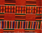 Kente Cloth, African Fabric, Red, Orange,  supplies, accessories. Sold by the Yard, No, KF006