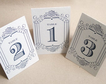 Wedding Table Number Cards 12 Pack Rustic Vintage Eco