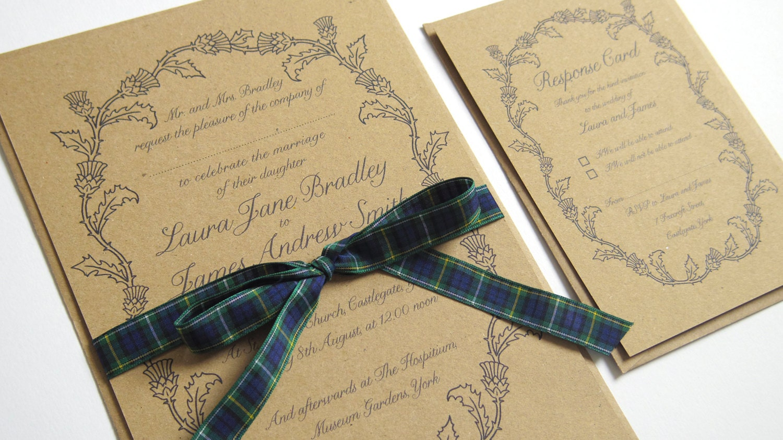Wedding Invites Scotland: Scottish Thistle Wedding Invitation Thistle Wreath Scottish