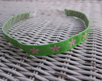 Pink Green Flower Headband - Girls Sports  Headband