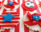 12 Fondant Edible Cupcake/Cookie Toppers - Patriotic/4th of July