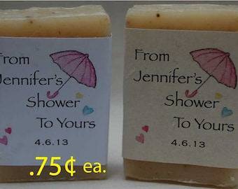 Baby Shower Favor-Party Favor-Personalized Party Favor - 1 oz. bars handmade soap Favors