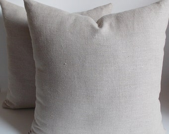 SET OF 2 Natural Linen Pillow Covers 18''x18'' Cushion Cover , Natural Linen Decorative Pillow  Cover