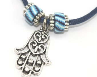 Hamsa necklace with polymer clay blue strips beads and silver plated charms, pendant gift for teens and women
