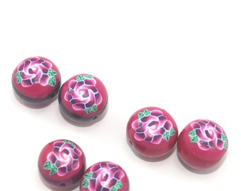 Polymer clay rose beads, round pressed beads in pinks and purple, set of 6 elegant beads