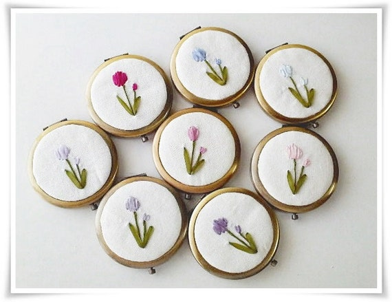 Clearance compact mirror with tulip flower ribbon embroidery (1 piece only for each color)