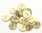 100 Floral (Design no.14) Painted Wood Button Two Hole Natural Wood Colour 15mm - 100 Pack Wholesale Bulk NPB13
