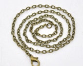 """5 - Antique Bronze Lobster Clasp Flat Link Chain Necklaces 20"""" Long - Pack of 5 JF15"""