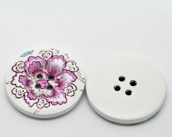 5 White Wood Painted Button Floral (Design No.20) Four Hole 30mm Pack of 5 WPB39