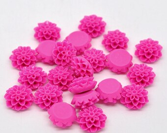10 Resin Flower Cabochon Chrysanthemums 16 x 8mm - HOT PINK  - Pack of 10 CAB16