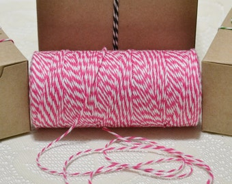 25 yards Bakers twine hot pink/white 4ply cotton for tags packaging scrapbooking cards banners clearance sale