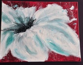 Original, One of a Kind Acrylic Abstract Flower Painting- white and teal petals with a bold red background.