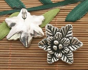 4pcs dark silver tone flower pendant 29mm h3555