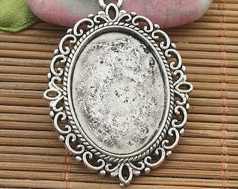 6pcs Dark Silver Tone Lacework Oval Picture Frame H3996