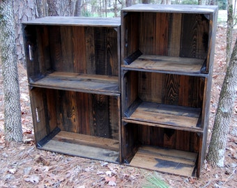 Set of Dark Walnut Wooden Crates / Wall Unit/ Bookshelf / Apples Crates
