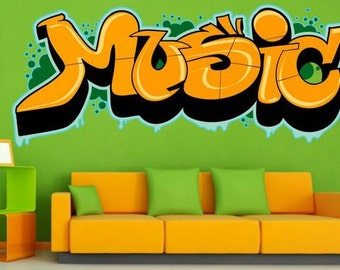 Wall Sticker Graffiti Music (2478f)