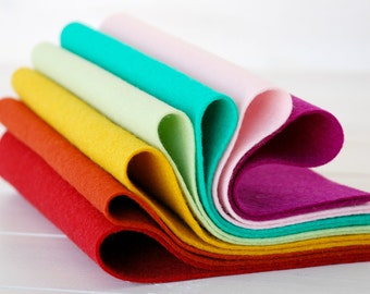 """100% Wool Felt Sheets - """"Parlour Color Collection""""  - 7 Wool Felt Sheets of 8"""" x 12"""" -  Wool Felt Sheets Bundle"""