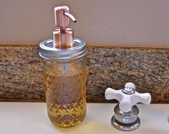 Soap Pump -12 Ounce Quilted Mason Jar With Hand Made Brushed Copper Two Tone Pump  LId For Soap or Lotion