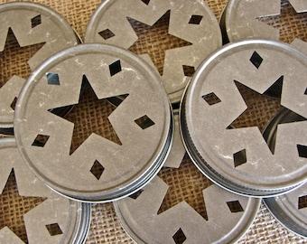 Star Mason Jar Lids - Pewter 6  Lids Only--SC6
