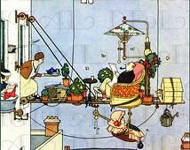 RARE. Man's Home Is His Castle, or Something Like that. W. Heath Robinson. Vintage DIGITAL Illustration. Digital DOWNLOAD.