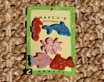 Wooden Painted Buttons / Fish Buttons / Wooden Buttons / by Crafty's