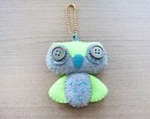 Felt Keychain -  Valentine Gift-  cute accessories -  Kawaii -  Neon owl plush - READY TO SHIP