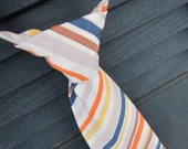 Boys Striped Neck Tie- Riley Blake Striped fabric with Comfy Adjustable Velcro Strap- navy blue, orange, white, gray, yellow