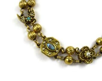 Goldette Victorian Revival Slider Bracelet - Moons & Stars