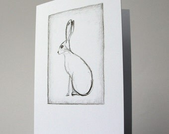 Silhouette of Hare Drawing Charcoal - greeting card