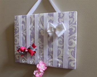 Hair Bow Holder Medium Lavender and White Damask Hair Bow Organizer - Hooks for headbands - Hairbow and Accessory Board