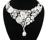 Chunky Rhinestone Bridal Statement Necklace Wedding Necklace