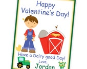 Valentines Day Card - Adorable Little Farmer Boy with Red Barn, Green Tractor Personalized Valentines Day Cards - a Digital Printable File