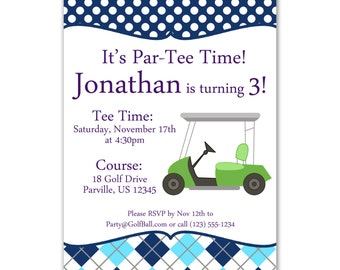 Golf Invitation - Aqua and Navy Blue Argyle Plaid with a Lime Green Golf Cart Personalized Birthday Party Invite - a Digital Printable File