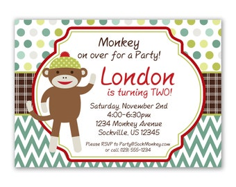 Sock Monkey Invitation - Green Turquoise Chevron and Polka Dots Sock Monkey Personalized Birthday Party Invite - a Digital Printable File