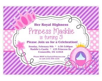 Princess Invitation - Purple Stripes and Pink Polka Dots, Royal Princess Crown Personalized Birthday Party Invite - a Digital Printable File