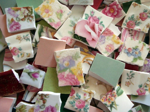 Broken china mosaic tiles 126 shabby cottage chic vintage for Shabby chic wall tiles