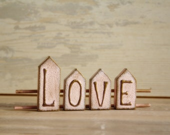 LOVE Sign Home Decor Wooden Sign Rustic Shabby Wooden Decor Pale Pink Copper Brass Violet shades