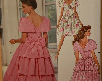 Party Dress  with Large Collar- 1990's - Butterick Pattern 5909  Uncut  Sizes 12-14-16  Bust 34-36-38""