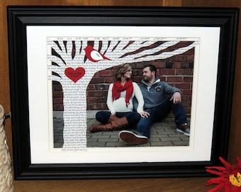Unique First Anniversary Gift with Song Lyrics or Vows on Tree with YOUR PICTURE - 10x13 Framed