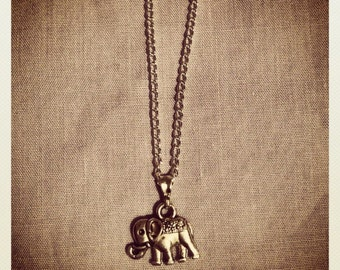 silver elephant pendant necklace on silver chain (18''or 22'')