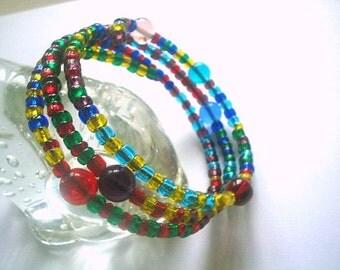 Glass Bead Memory Wire Bangle Jewel Tones Multicolor