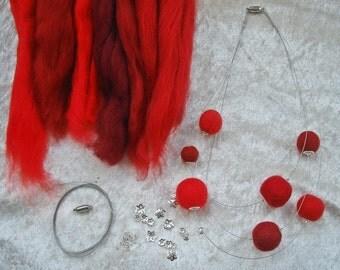 DIY Bastelset für Filzkette, 100% Wolle, rot, blau, grau, grün, lila-pink, orange, oder bunt, ca. 20g für 9-12 Filzperlen, Anleitung incl.