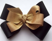 Boutique Hair Bow Black And Gold - Baby, Girls, Womens Hair Bow