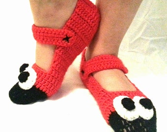 Crochet Slippers Socks House Shoes Lady Bird Characters.