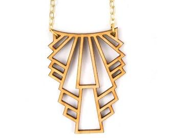 Metropolis Laser Cut Wood Necklace | Art Deco Necklace | Long Handmade Necklace |