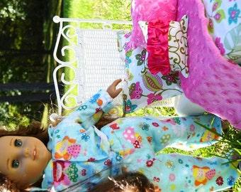 "Doll Bedding for 18"" Dolls American Girl My Generation Gotz Madame Alexander Twin Size 4 Pcs"