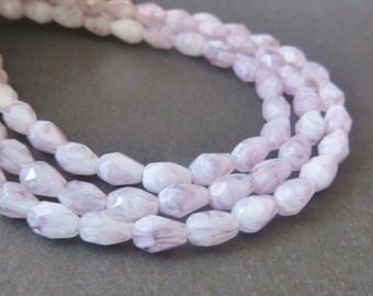 Amethyst w/ White Czech Faceted Tear Drop Beads, 7x5mm, 20 Pieces