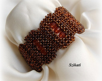 SALE 10% OFF! Brown Statement Beadwoven Cuff Bracelet, Right Angle Weave, Women's Beaded Fashion Jewelry, Bead Accessory, Gift for Her, OOAK
