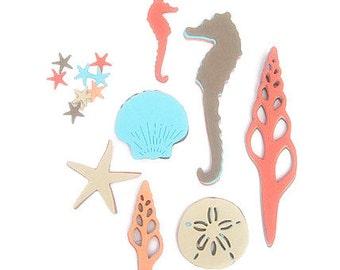Sea Life Die Cuts, Seahorses, Seashells,  Starfish die cuts, Underwater Sea life,Peach, Mint, Sand,  Cardmaking , Scrapbooking