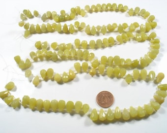 FANTASTIC DEAL-3 x strands faceted green yellowish Jade tear drops beads- Time to go 14